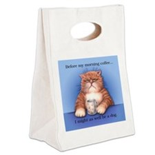 Coffee Cat Canvas Lunch Tote