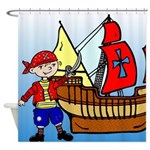 Kids Pirate Design Shower Curtain
