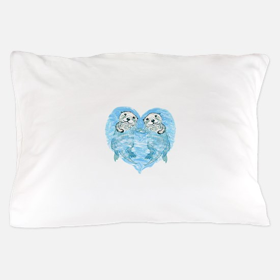 sea otters holding hands Pillow Case