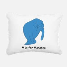 M is for Manatee Rectangular Canvas Pillow