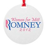 Pink Feminine Women for Mitt Romney 2012 Round Orn