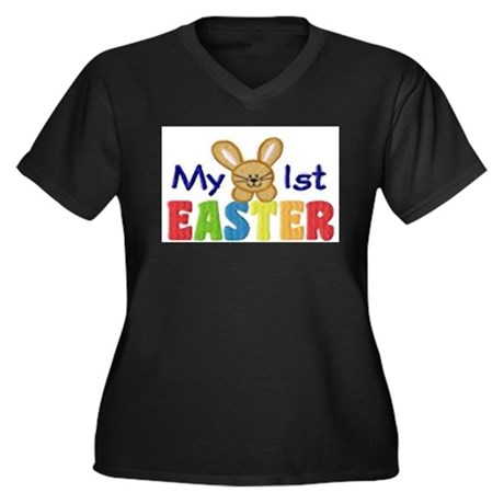 My 1st Easter Women's Plus Size V-Neck Dark T-Shir