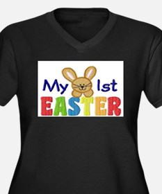 My 1st Easter Women's Plus Size V-Neck Dark T-Shir
