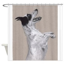 jack russel pastel painting Shower Curtain