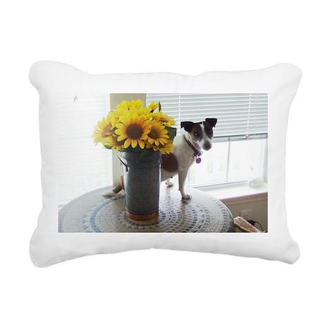 Still Life With Terrier Rectangular Canvas Pillow
