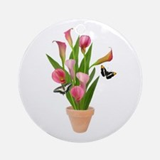 Calla Lily Butterfly Ornament (Round)