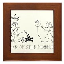 Sick of Stick People Camp Fire Framed Tile