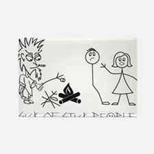 Sick of Stick People Camp Fire Rectangle Magnet