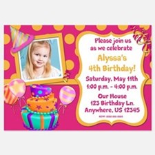 Pink Orange Girls Birthday Invite Invitations