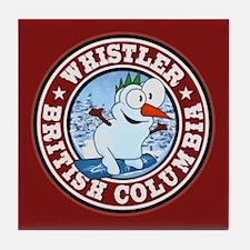 Whistler Snowman Circle Tile Coaster