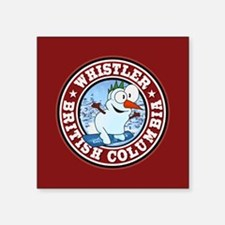 "Whistler Snowman Circle Square Sticker 3"" x 3"""