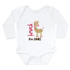 Im one Pink Giraffe Long Sleeve Infant Bodysuit