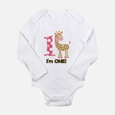 Im one Pink Giraffe Long Sleeve Infant Bodysuit