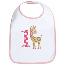 Jungle Giraffe Pink Giraffe 1 First Birthday Bib