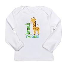 Giraffe Im One First Birthday Long Sleeve Infant T
