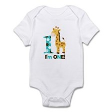Im one Blue/Brown Giraffe First Birthday Infant Bo