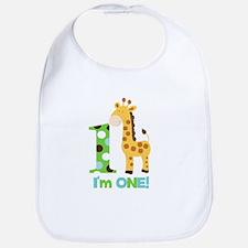 Giraffe Im One First Birthday Bib