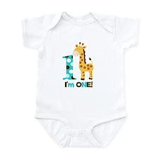 Im one Blue/Brown Giraffe First Birthday Infant Bo