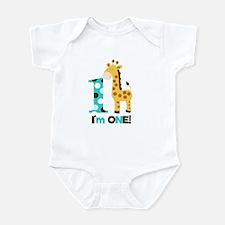 Im one Blue/Brown Giraffe First Birthday Onesie