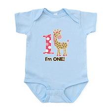 Im one Pink Giraffe Infant Bodysuit