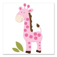 "Cute Pink Girl Giraffe Square Car Magnet 3"" x 3"""