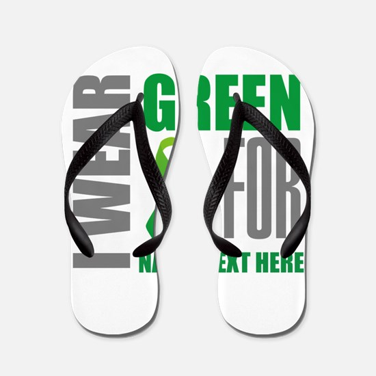 Green Awareness Ribbon Customized Flip Flops