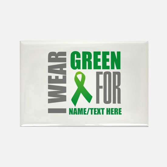 Green Awareness Ribbon Customized Rectangle Magnet