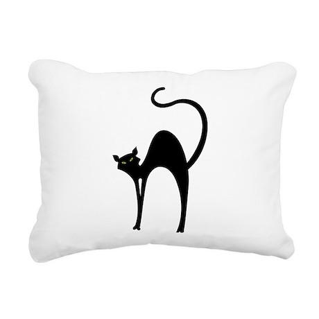 Retro Black Cat Rectangular Canvas Pillow