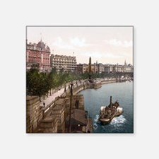 "Vintage Thames River Square Sticker 3"" x 3"""