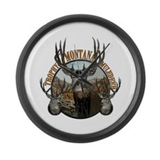 Trophy Montana mule deer Large Wall Clock