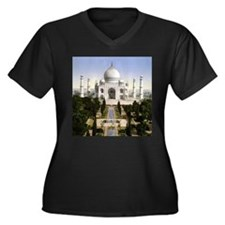 Vintage Taj Mahal Women's Plus Size V-Neck Dark T-
