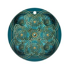 Teal Celtic Tapestry Ornament (Round)