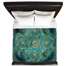 Teal Celtic Tapestry King Duvet