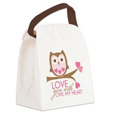 Love you with owl my heart Canvas Lunch Bag