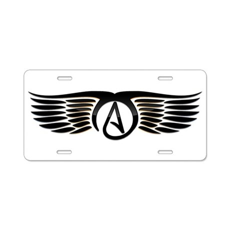 Atheist Wings Aluminum License Plate