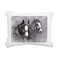Rectangular Canvas Pillow Working Horses design