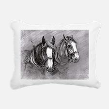 Rectangular Canvas Pillow Working Horses design