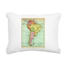 South America Map Rectangular Canvas Pillow