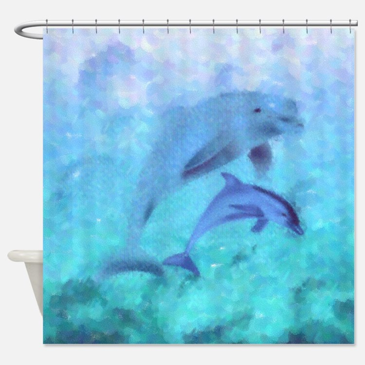Painted Dolphins Shower Curtain