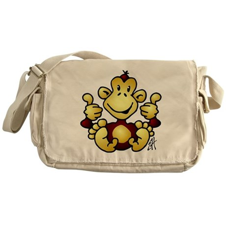 Monkey with four thumbs up Messenger Bag