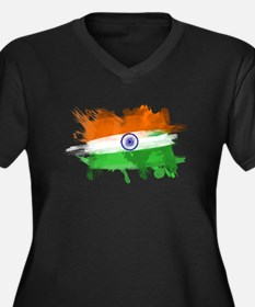 India Flag Women's Plus Size V-Neck Dark T-Shirt