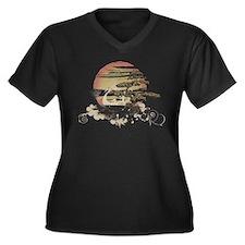 Bonsai Women's Plus Size V-Neck Dark T-Shirt