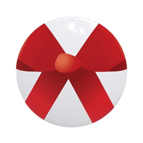 Red Bow Ornament (Round)