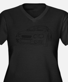 Car Outline Women's Plus Size V-Neck Dark T-Shirt