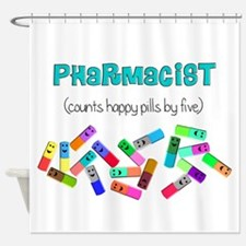 pharmacist counts happy pills.PNG Shower Curtain