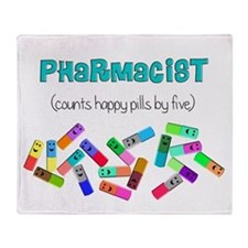 pharmacist counts happy pills.PNG Throw Blanket