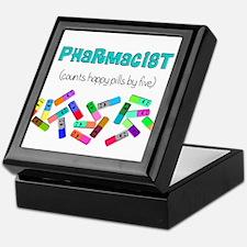 pharmacist counts happy pills.PNG Keepsake Box
