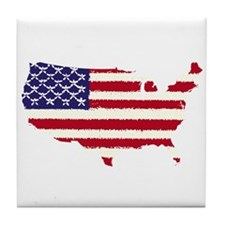 USA Flag Outline v5 Tile Coaster
