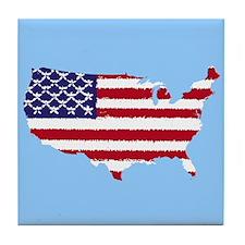 USA Flag Outline v4 Tile Coaster