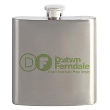 Downtown Ferndale Lime Green Logo Flask